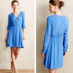 Anthropologie Maeve Blue Faux Wrap Dress Lene M